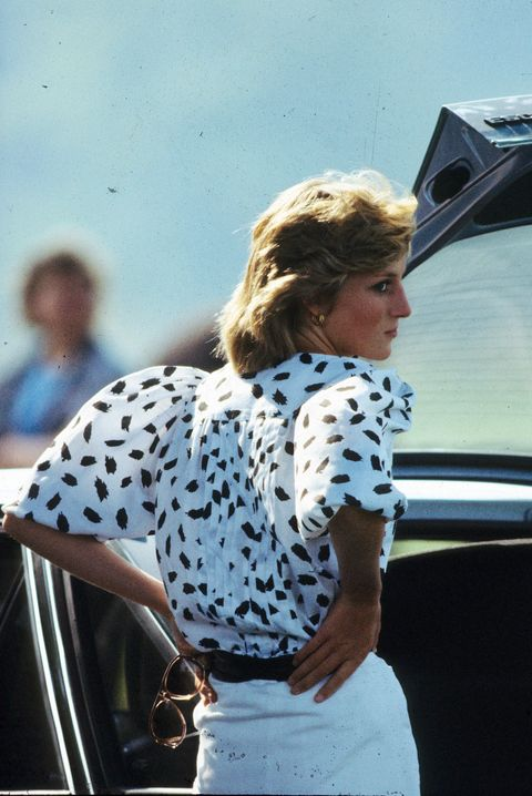 lady di with white printed blouse