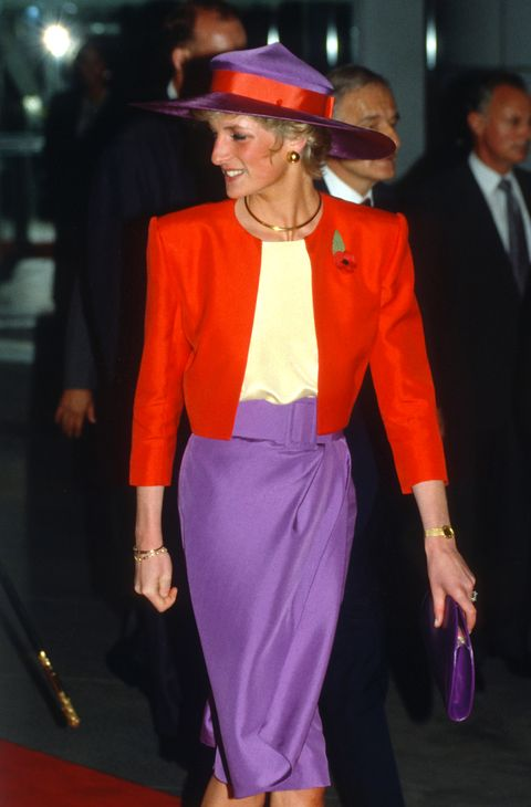 lady di with red and purple outfit