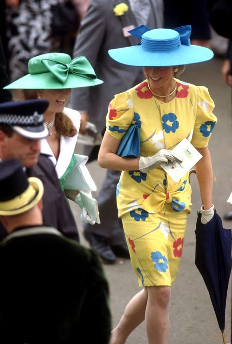 the princess of wales and the duchess of york in the royal enclosure at an ascot race meeting, june 1987  photo by lucy levensongetty images