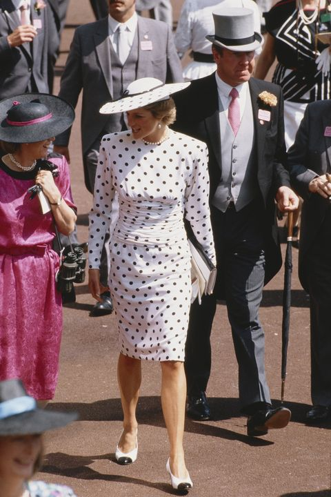 diana, princess of wales  1961   1997 attends the ascot race meeting in england, wearing a black and white spotted dress by victor edelstein and a philip somerville hat, june 1988  photo by jayne fincherprincess diana archivegetty images