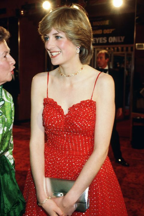 lady diana spencer attends the premiere of bond film 'for yo