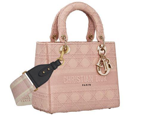 Lady Dior 粉色籐格紋刺繡帆布中型提包,NT.140,000