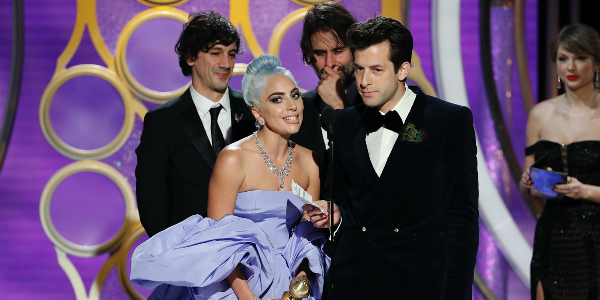 """Lady Gaga and Mark Ronson accept the Best Original Song - Motion Picture awards for """"Shallow"""" from """"A Star Is Born"""" onstage during the 76th Annual Golden Globe Awards"""