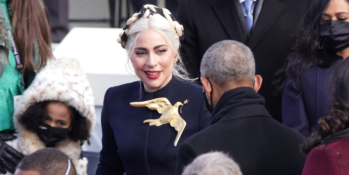 Lady Gaga Explains the Symbolism of Her Schiaparelli Inauguration Dress and Giant Dove Brooch