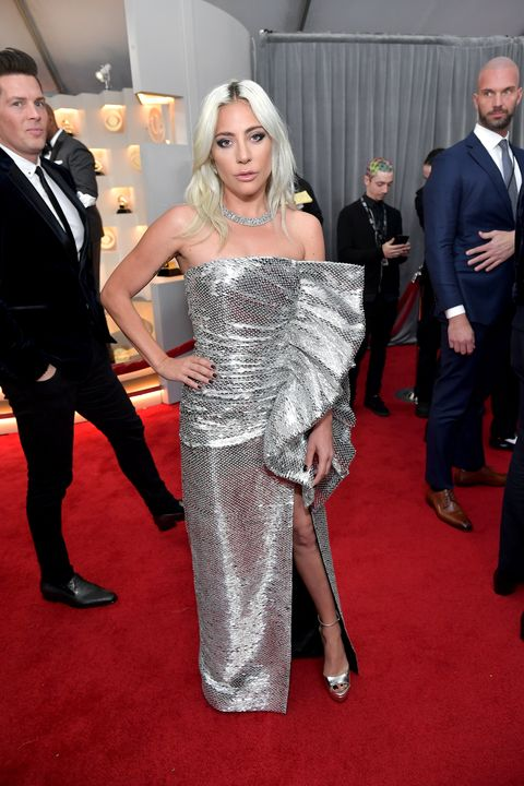 Lady Gaga Wears Silver Dress To Grammys 2019 Red Carpet