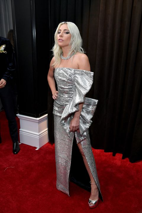 lady gaga wears a glamorous silver celine dress to the grammys 2019 silver celine dress to the grammys 2019