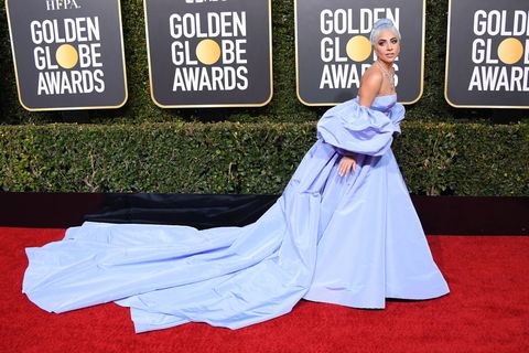 lady gaga wears blue cinderella dress to golden globes 2019 red carpet cinderella dress to golden globes 2019