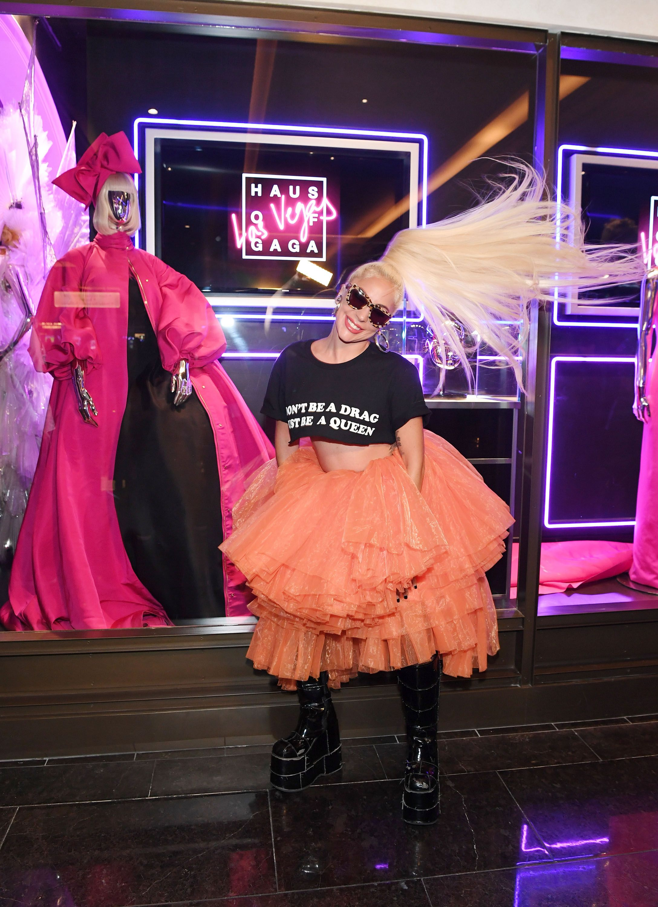 9968c8c4e0b6 Lady Gaga Wears a Tutu and Combat Boots at Her 'Haus of Gaga' Exhibition in  Las Vegas