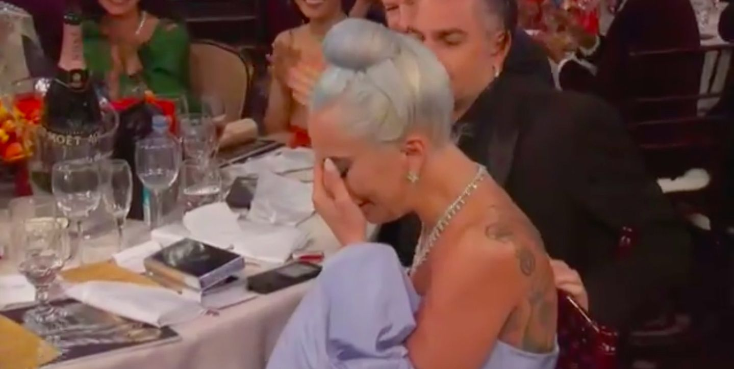Lady Gaga cries at the Golden Globes 2019
