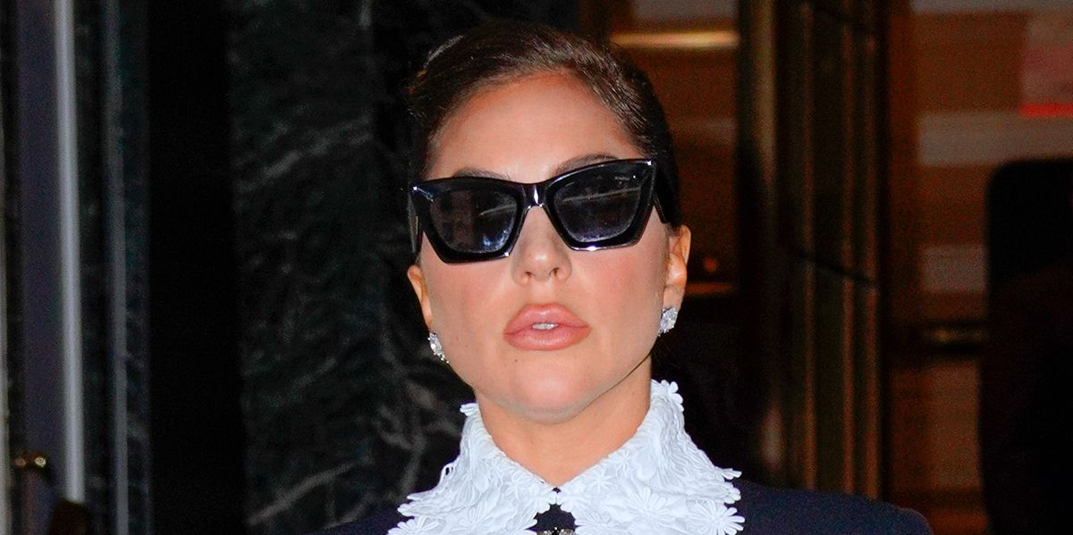 Lady Gaga Stepped Out in a Black Mini Dress With a Dramatic Lace Collar