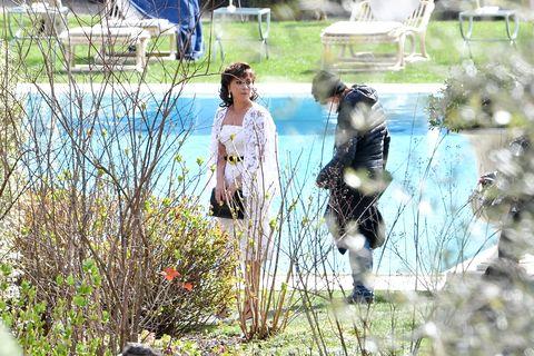 lady gaga op de set van de house of gucci film
