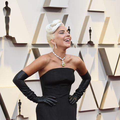 5f18a72fb73 Lady Gaga Channels Audrey Hepburn in Alexander McQueen at 2019 ...