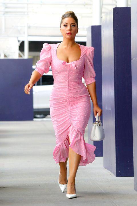 lady gaga pink polka dot dress nyc