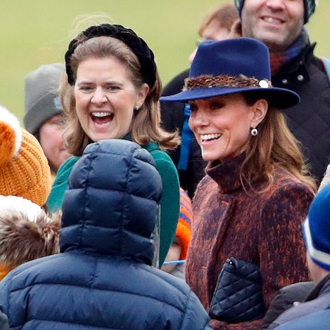 all of the royal family's best and closest friends, pictured here is lady laura meade and kate middleton, attending a church service together in january 2020