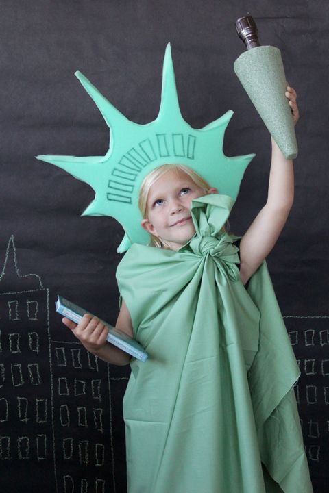 lady liberty homemade halloween costume for kids