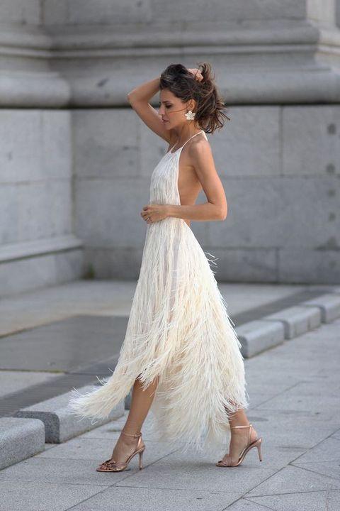 Clothing, Dress, White, Shoulder, Gown, Wedding dress, Beauty, Photo shoot, Bridal party dress, Fashion,