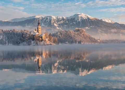 lake bled during winter in slovakia