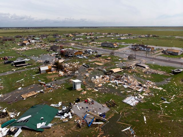 """topshot   this aerial view shows damage to a neighborhood by hurricane laura outside of lake charles, louisiana, on august 27, 2020   hurricane laura slammed into the southern us state of louisiana thursday and the monster category 4 storm prompted warnings of """"unsurvivable"""" ocean surges and evacuation orders for hundreds of thousands of gulf coast residents the national hurricane center nhc said """"extremely dangerous"""" laura would bring winds of 150 miles per hour 240 kilometers per hour and """"destructive waves will cause catastrophic damage"""" to louisiana and texas photo by stringer  afp photo by stringerafp via getty images"""
