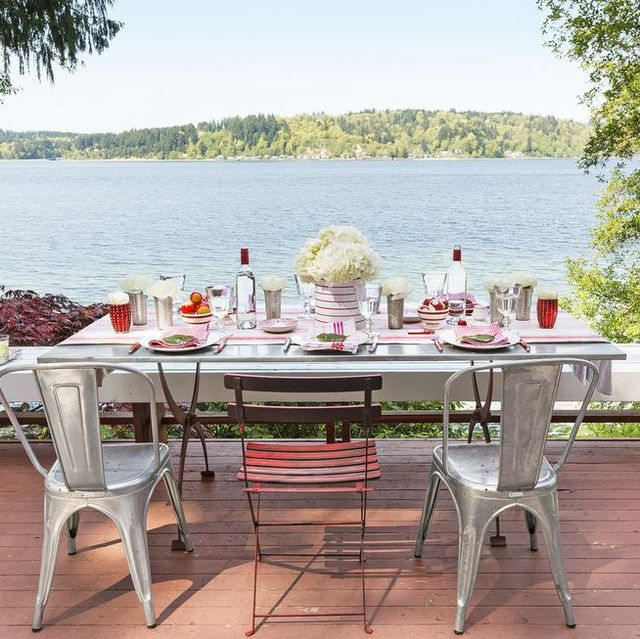 dining table on lakefront deck