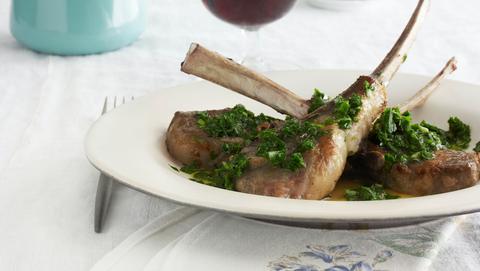 lamb chops with arugula chimichurri