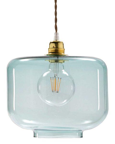 lampara de cristal tintado en color aguamarina