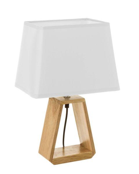 lámpara con pie de madera en triángulo