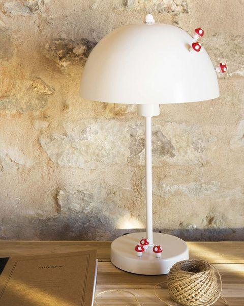 lámpara de mesa blanca con setas iman