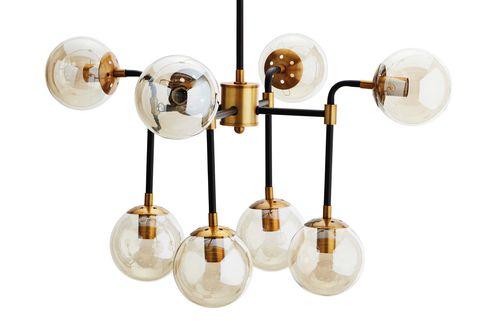 Lámpara de techo con esferas de cristal