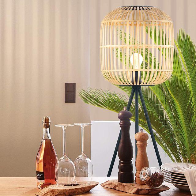 lámpara fibras naturales