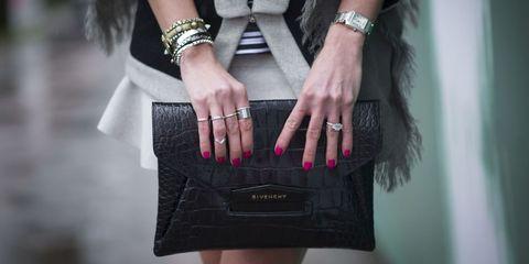 Wrist, Bag, Style, Pink, Fashion accessory, Interaction, Fashion, Watch, Black, Nail,