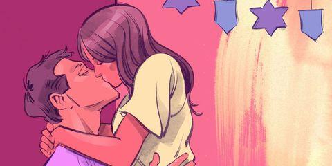 Cartoon, Love, Pink, Interaction, Romance, Kiss, Illustration, Anime, Animation, Gesture,