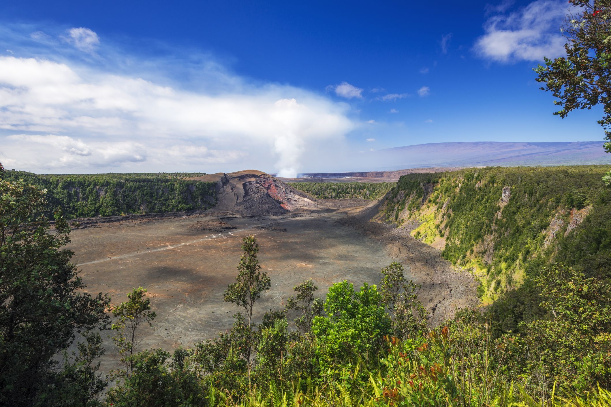Landscape with Kilauea Iki and steam from Halemaumau Crater, Hawaii Volcanoes National Park, Hawaii, USA