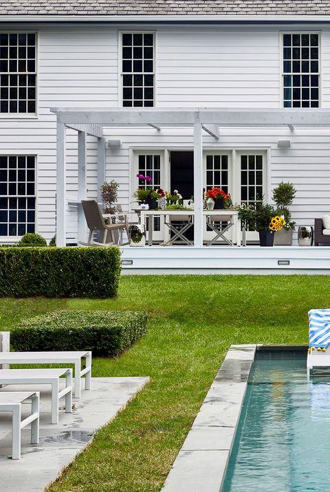 backyard with white house