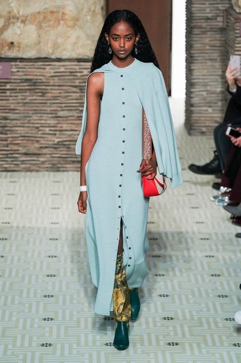 Clothing, Fashion, Fashion model, Runway, Fashion show, Fashion design, Turquoise, Street fashion, Outerwear, Dress,