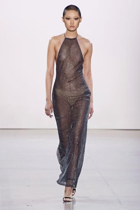 Fashion model, Fashion show, Fashion, Runway, Clothing, Dress, Haute couture, Neck, Shoulder, Event,