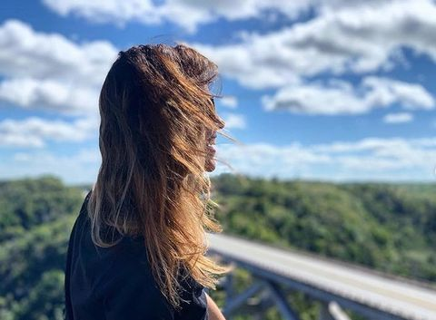 Hair, Hairstyle, Long hair, Sky, Blond, Beauty, Brown hair, Cloud, Grass, Hair coloring,