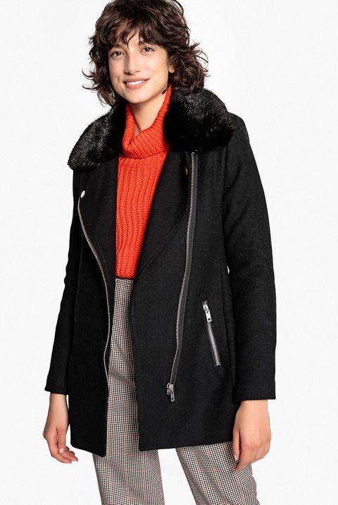 abrigo negro estilo motero de la redoute