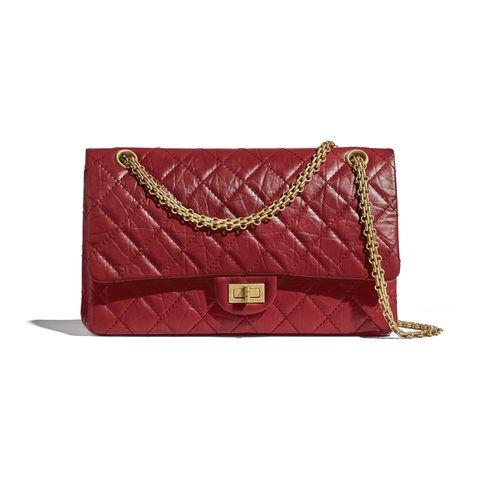 chanel 紅色255大型口蓋包