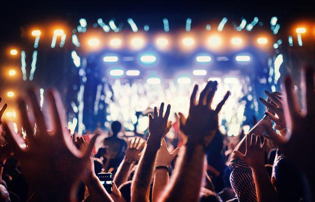 grote groep mensen bij een concert of festival
