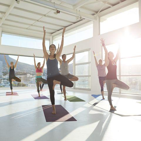 Large group of yogis balancing on 1 leg