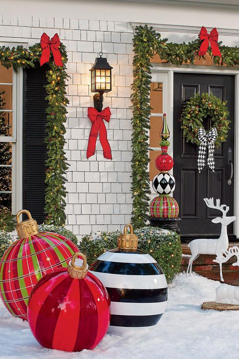 large outdoor christmas ornaments - oversized yard holiday ornaments