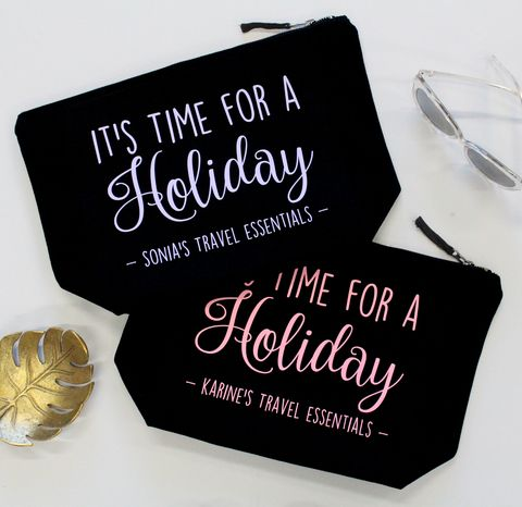 Large Personalised Holiday Travel Essentials Pouch