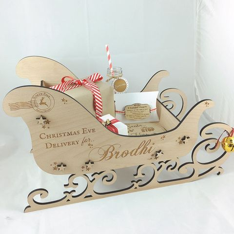 Large Personalised Wooden Christmas Eve Box, Christmas Eve Sleigh, Wooden Sleigh