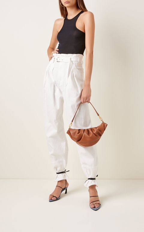 White, Clothing, Shoulder, Handbag, Neck, Bag, Joint, Fashion, Waist, Trousers,