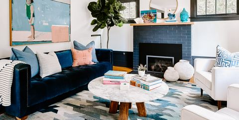 Living room, Room, Furniture, Interior design, Blue, Turquoise, Property, Coffee table, Table, Couch,