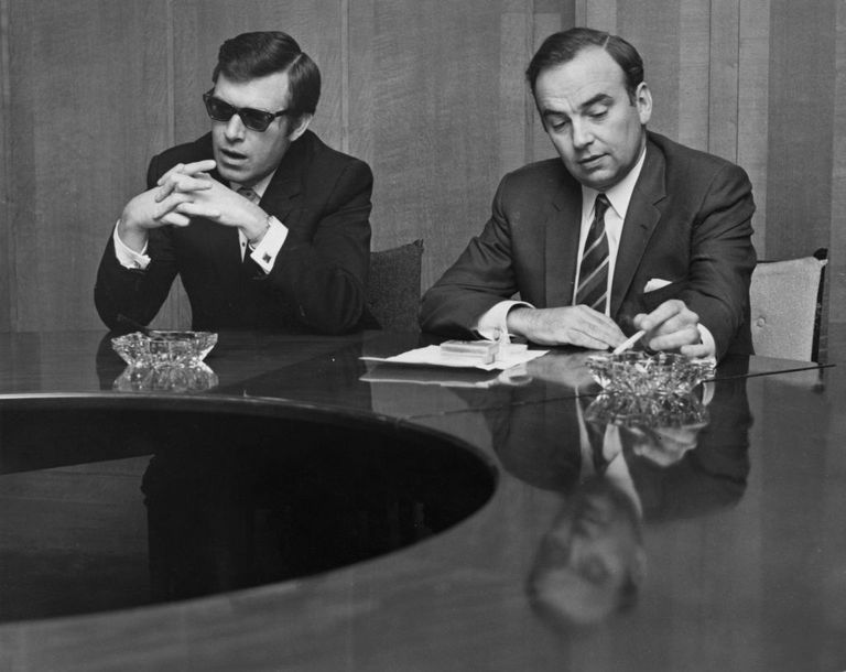 Sun editor Larry Lamb, at left, and Rupert Murdoch in 1969.