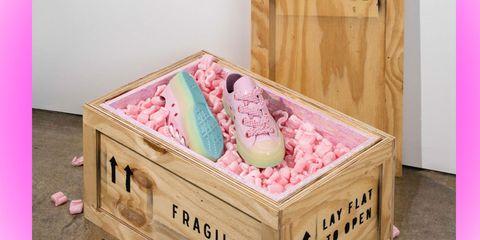 Pink, Footwear, Shoe, Furniture, Drawer, Box,