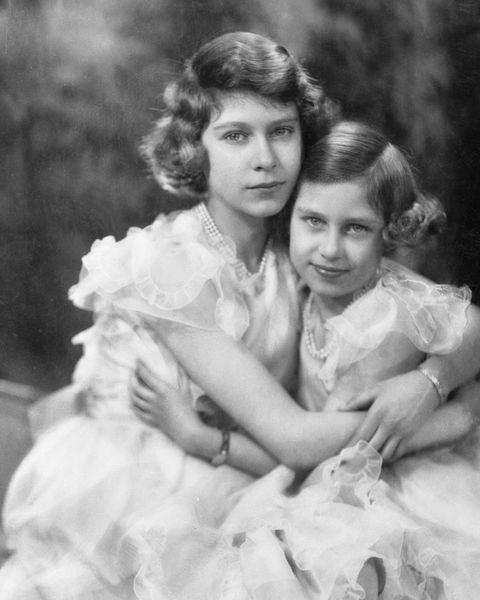 portrait of princess margaret and elizabeth cuddled together