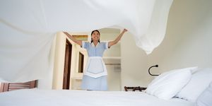 Latin American maid working at a hotel