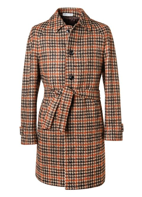 Clothing, Pattern, Plaid, Tartan, Sleeve, Outerwear, Coat, Trench coat, Brown, Design,